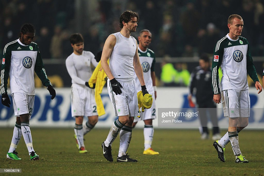 Player of Wolfsburg are seen after the Bundesliga match between VfL Wolfsburg and Borussia Dortmund at the Volkswagen Arena on January 29, 2011 in Wolfsburg, Germany.