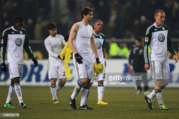 Player of Wolfsburg are seen after the Bundesliga match between VfL Wolfsburg and Borussia Dortmund at the Volkswagen Arena on January 29 2011 in...