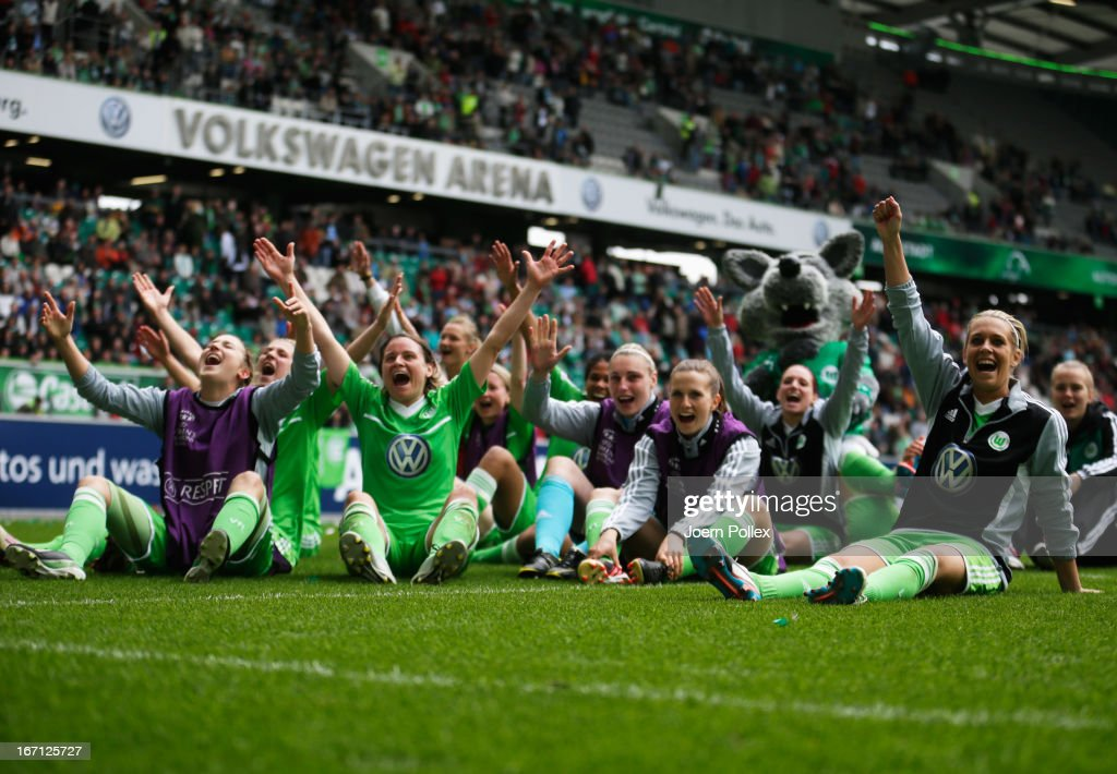 Player of Wolfsburg celebrate after winning the Women's Champions League semi-final second leg match between VfL Wolfsburg and Arsenal Ladies FC at Volkswagen Arena on April 21, 2013 in Wolfsburg, Germany.
