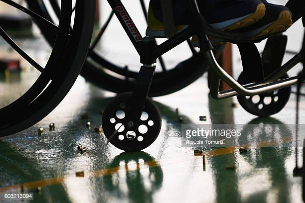 A player on wheelchair competes in the men's 50m rifle 3 positions SH1 on day 5 of the Rio 2016 Paralympic Games at Olympic shooting centre on...