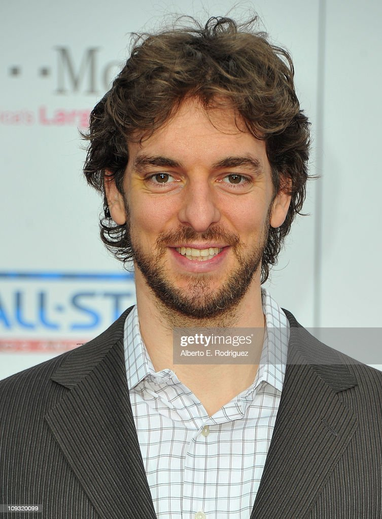 NBA player <a gi-track='captionPersonalityLinkClicked' href=/galleries/search?phrase=Pau+Gasol&family=editorial&specificpeople=201587 ng-click='$event.stopPropagation()'>Pau Gasol</a> arrives to the T-Mobile Magenta Carpet at the 2011 NBA All-Star Game on February 20, 2011 in Los Angeles, California.