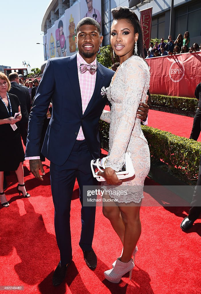 NBA player Paul George with girlfriend Callie Rivers attend The 2014 ESPYS at Nokia Theatre L.A. Live on July 16, 2014 in Los Angeles, California.