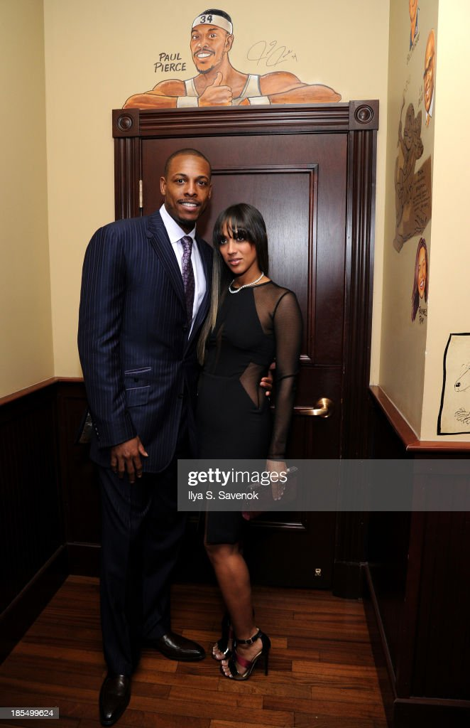 NBA player <a gi-track='captionPersonalityLinkClicked' href=/galleries/search?phrase=Paul+Pierce&family=editorial&specificpeople=201562 ng-click='$event.stopPropagation()'>Paul Pierce</a> (L) and Julie Pierce attend DuJour's Jason Binn's welcoming NY Nets Star <a gi-track='captionPersonalityLinkClicked' href=/galleries/search?phrase=Paul+Pierce&family=editorial&specificpeople=201562 ng-click='$event.stopPropagation()'>Paul Pierce</a> To NYC event on October 21, 2013 in New York City.