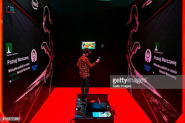 Player playing a game using the HTC VIVE goggles during the TMobile Warsaw Games Week on October 13 2016 at EXPO XXI Exhibition Hall in Warsaw Poland...