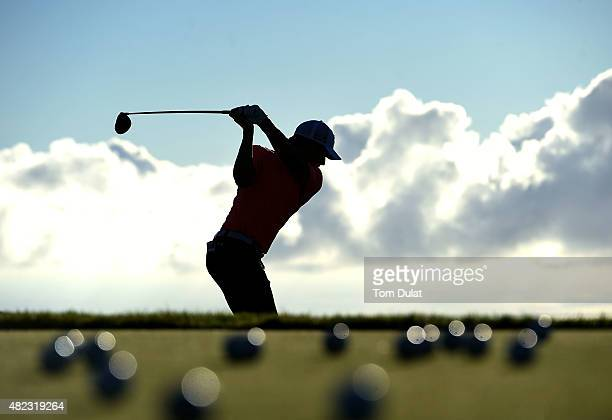 A player practices on the driving range during day one of the Madeira Islands Open Portugal BPI at Club de Golf do Santo da Serra on July 30 2015 in...
