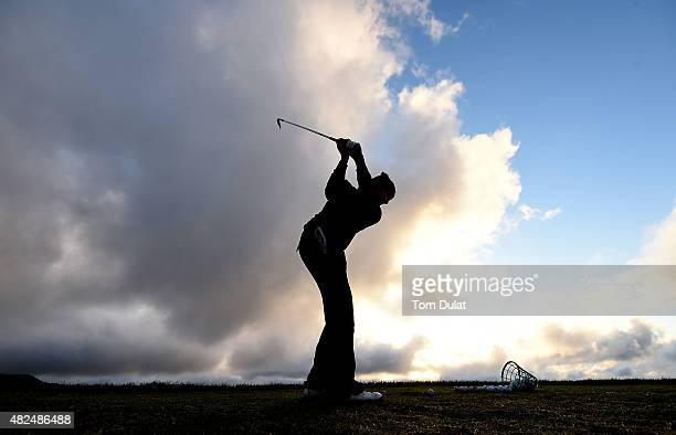 A player practices on the driving range during day two of the Madeira Islands Open Portugal BPI at Club de Golf do Santo da Serra on July 31 2015 in...