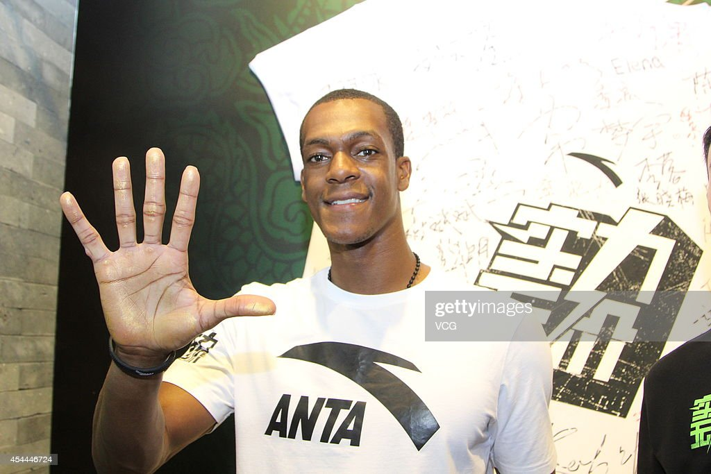 NBA player Rajon Rondo attends a fan meeting during his China Tour on August 31, 2014 in Xiamen, Fujian province of China.