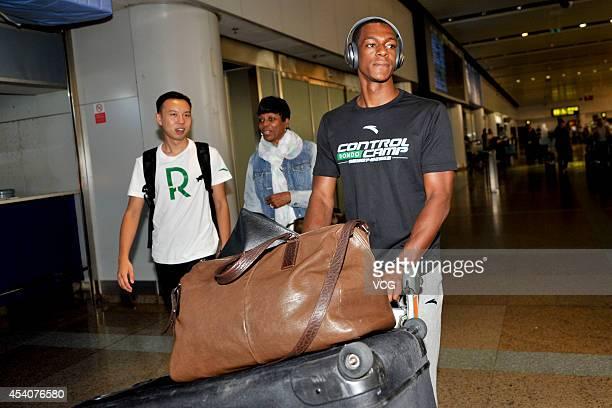 NBA player Rajon Rondo of the Boston Celtics arrives at Beijing Capital International Airport on August 24 2014 in Beijing China