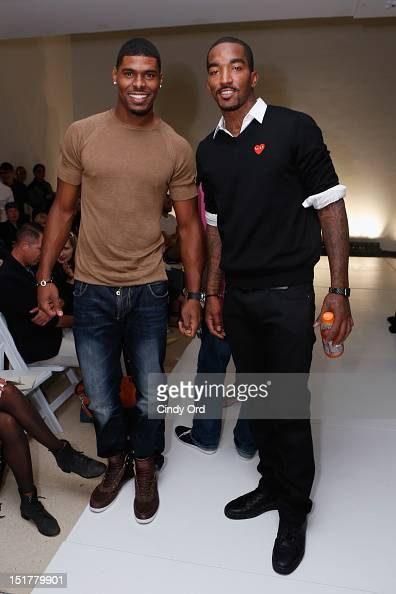 NFL player Ramses Barden and NBA player JR Smith attend the John Bartlett Runway Show during the Spring 2013 MercedesBenz Fashion Week at New York...