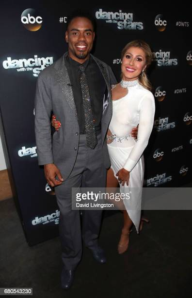 NFL player Rashad Jennings and dancer Emma Slater attend 'Dancing with the Stars' Season 24 at CBS Televison City on May 8 2017 in Los Angeles...