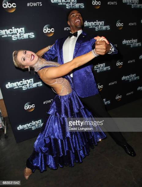 NFL player Rashad Jennings and dancer Emma Slater attend 'Dancing with the Stars' Season 24 at CBS Televison City on May 15 2017 in Los Angeles...