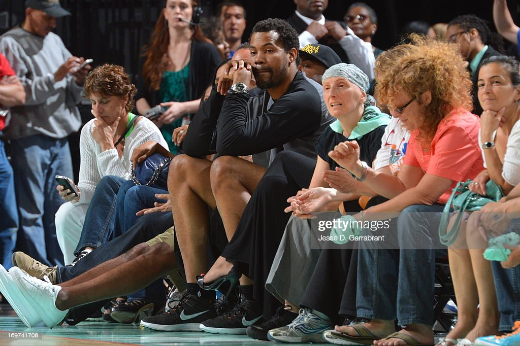 NBA player, Rasheed Wallace, attends the game between the Tulsa Shock and the New York Liberty on May 31, 2013 at Prudential Center in Newark, New Jersey.