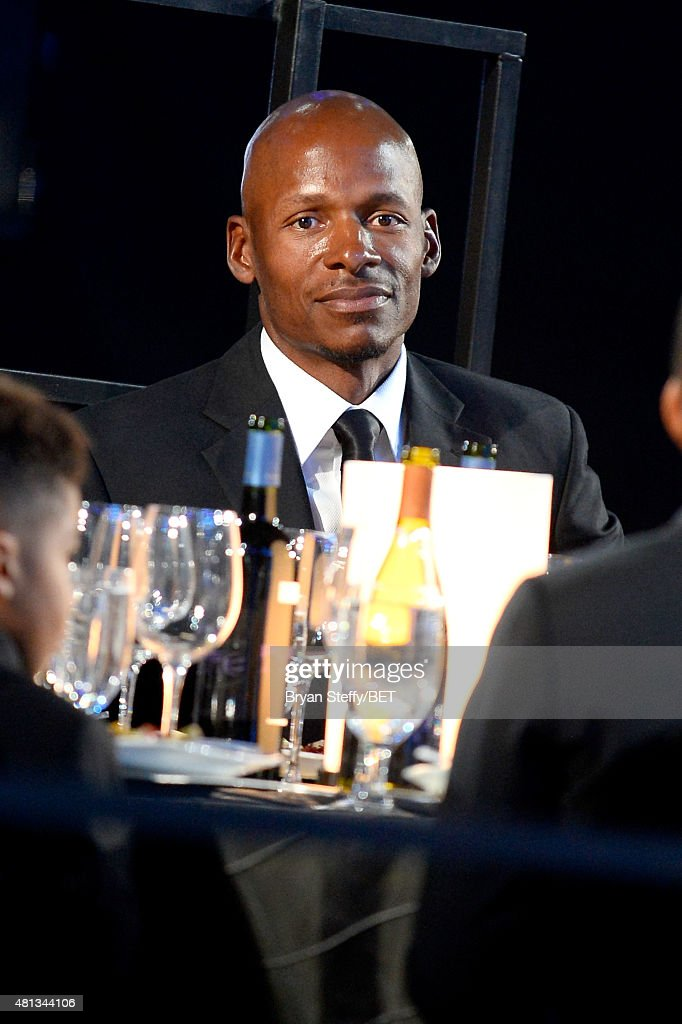 NBA player <a gi-track='captionPersonalityLinkClicked' href=/galleries/search?phrase=Ray+Allen&family=editorial&specificpeople=201511 ng-click='$event.stopPropagation()'>Ray Allen</a> sits in the audience during The Players' Awards presented by BET at the Rio Hotel & Casino on July 19, 2015 in Las Vegas, Nevada.