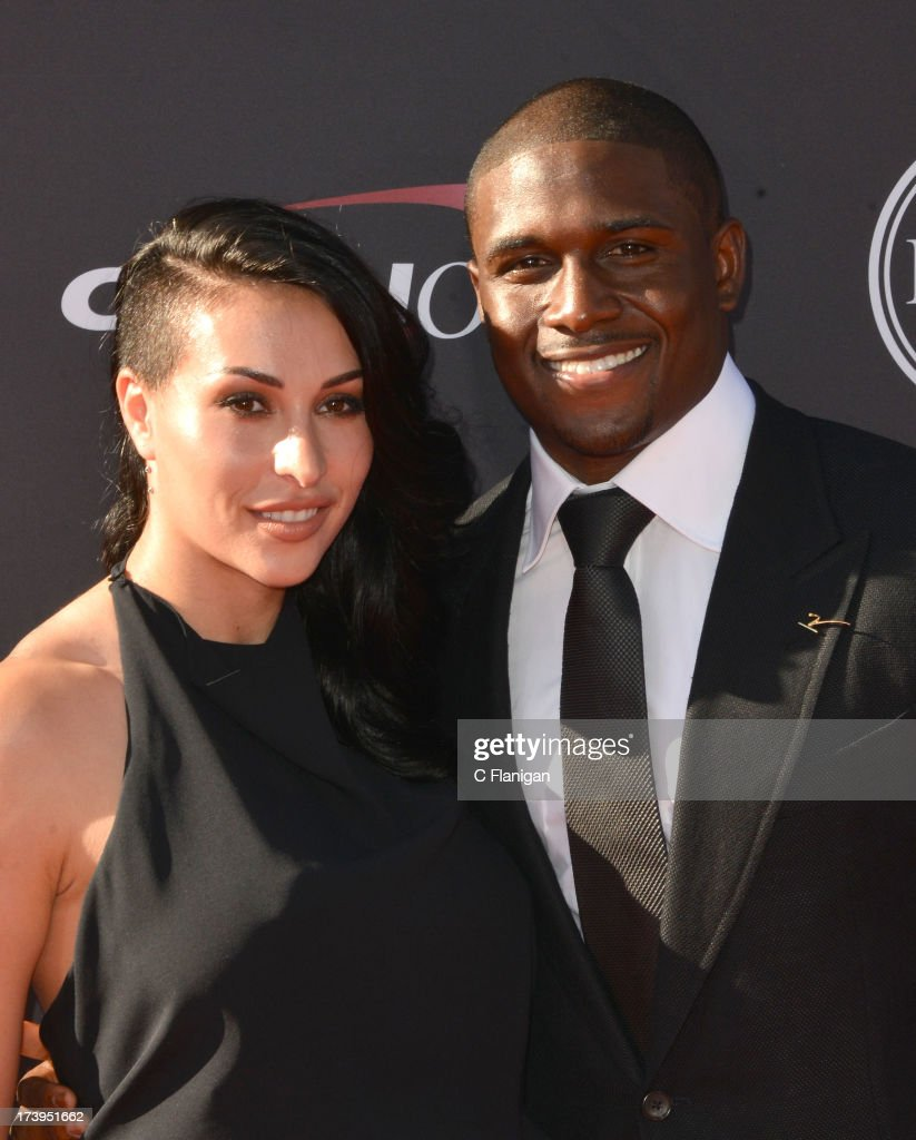 NFL player Reggie Bush and fiancee Lilit Avagyan arrive at the 2013 ESPY Awards at Nokia Theatre L.A. Live on July 17, 2013 in Los Angeles, California.