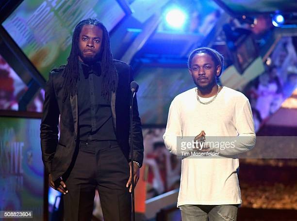 NFL player Richard Sherman and recording artist Kendrick Lamar speak onstage during the 5th Annual NFL Honors at Bill Graham Civic Auditorium on...