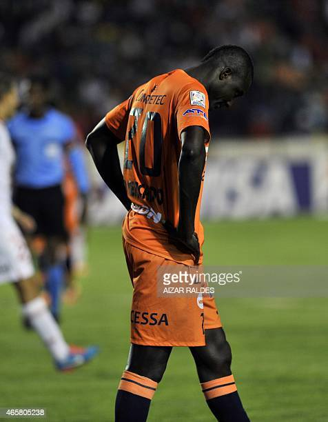 Player Richart Mercado of Bolivia's Universitario de Sucre gestures during the Libertadores Cup football match against Argentina's Huracan at the...