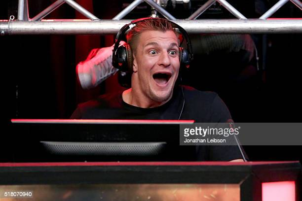 NFL player Rob Gronkowski attends as athletes and YouTube stars team for DOOM Videogame Tournament at Siren Studios on March 29 2016 in Hollywood...