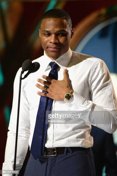 NBA player Russell Westbrook accepts the Kia NBA Most Valuable Player award onstage during the 2017 NBA Awards Live on TNT on June 26 2017 in New...