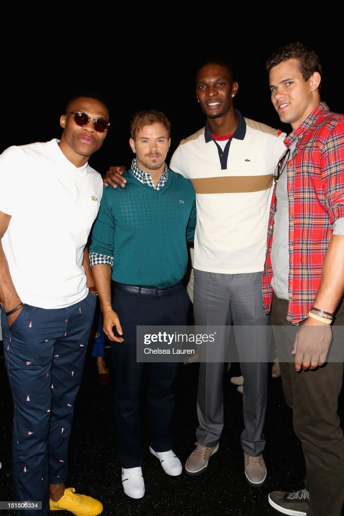 NBA player Russell Westbrook, actor Kellan Lutz, NBA player Chris Bosh and NBA player Kris Humphries pose backstage at the Lacoste Spring 2013 fashion show during Mercedes-Benz Fashion Week at The Theatre, Lincoln Center on September 8, 2012 in New York City.
