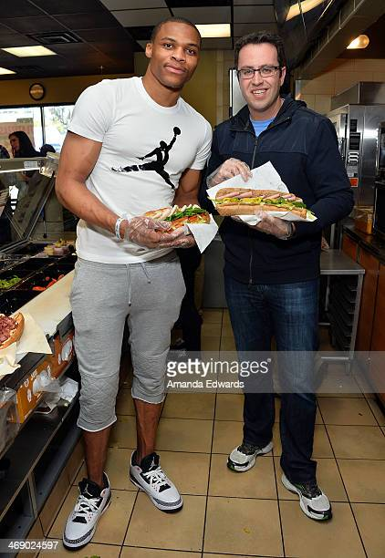 NBA player Russell Westbrook and Jared Fogle celebrate Westbrook's joining Subway's Famous Fan Roster at Subway Restaurant on February 12 2014 in Los...