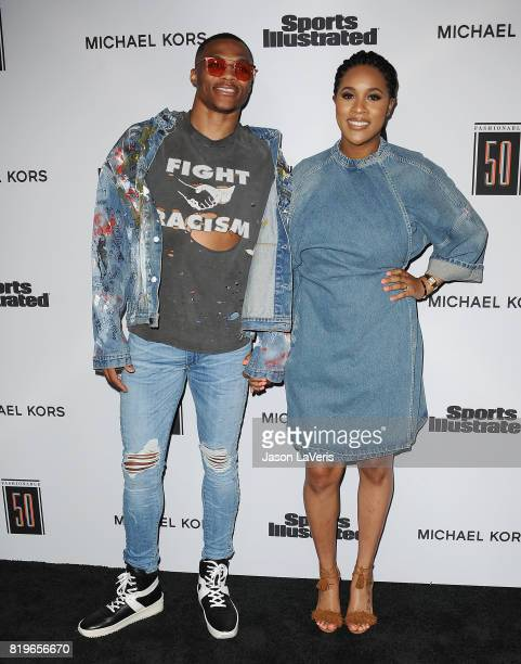 NBA player Russell Westbrook and wife Nina Earl attend the Sports Illustrated Fashionable 50 event at Avenue on July 18 2017 in Los Angeles California