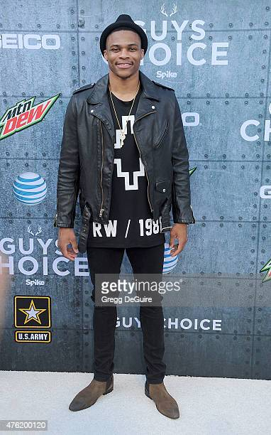 NBA player Russell Westbrook arrives at Spike TV's 'Guys Choice 2015' at Sony Pictures Studios on June 6 2015 in Culver City California