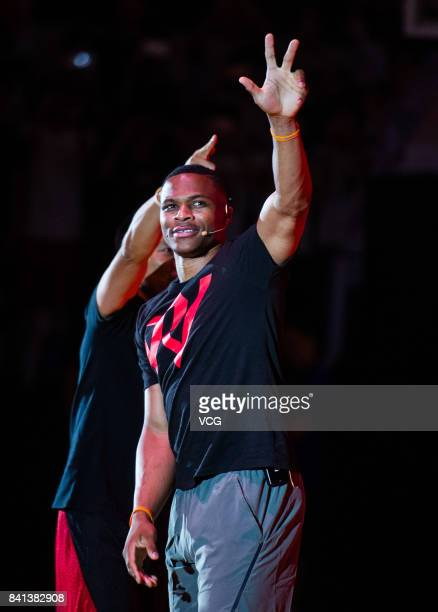 NBA player Russell Westbrook of the Oklahoma City Thunder meets fans at Guangzhou Sport University on August 31 2017 in Guangzhou China