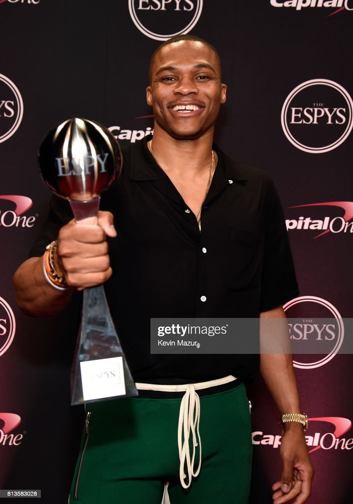 NBA player Russell Westbrook poses with the Best Male Athlete award backstage during The 2017 ESPYS at Microsoft Theater on July 12, 2017 in Los Angeles, California.