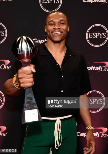 NBA player Russell Westbrook poses with the Best Male Athlete award backstage during The 2017 ESPYS at Microsoft Theater on July 12 2017 in Los...
