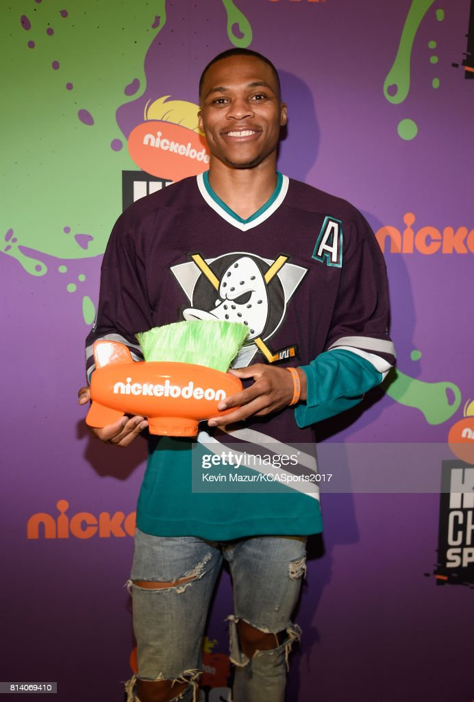 NBA player Russell Westbrook, winner of the Clutch Player of the Year award, attends Nickelodeon Kids' Choice Sports Awards 2017 at Pauley Pavilion on July 13, 2017 in Los Angeles, California.