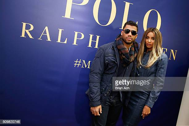 Player Russell Wilson and Ciara attend Polo Ralph Lauren Fall 2016 during New York Fashion Week on February 12 2016 in New York City