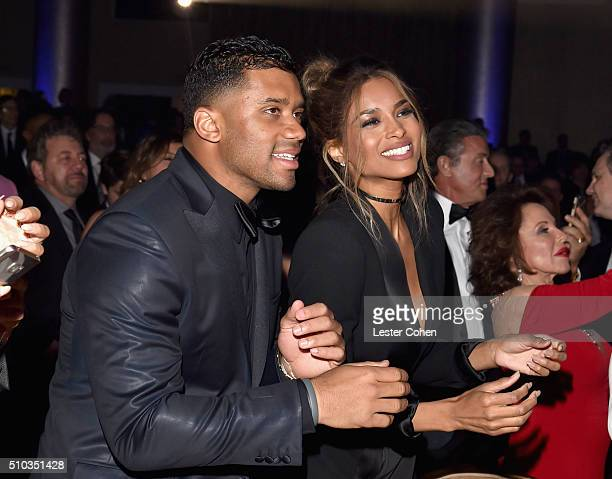 NFL player Russell Wilson and Ciara attend the 2016 PreGRAMMY Gala and Salute to Industry Icons honoring Irving Azoff at The Beverly Hilton Hotel on...