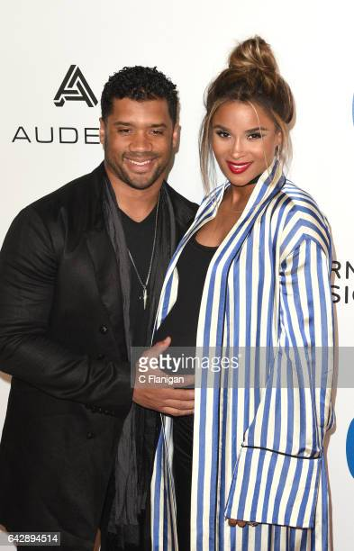 Player Russell Wilson and Ciara attend the Warner Music Group GRAMMY Party at Milk Studios on February 12 2017 in Hollywood California