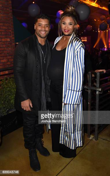 Player Russell Wilson and Musician Ciara attend the Warner Music Group GRAMMY Party at Milk Studios on February 12 2017 in Hollywood California