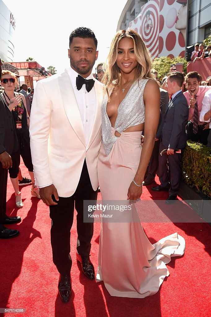 NFL player Russell Wilson (L) and recording artist Ciara attend the 2016 ESPYS at Microsoft Theater on July 13, 2016 in Los Angeles, California.