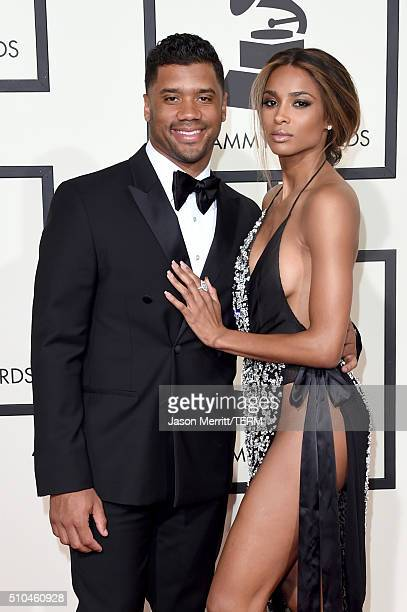 NFL player Russell Wilson and recording artist Ciara attend The 58th GRAMMY Awards at Staples Center on February 15 2016 in Los Angeles California
