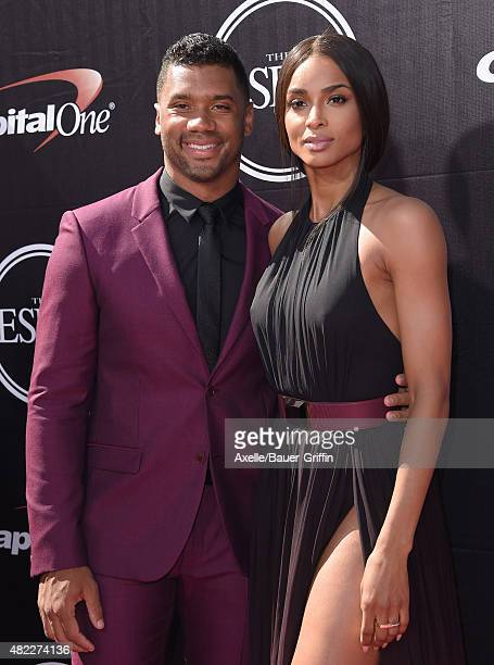 NFL player Russell Wilson and singer Ciara arrive at The 2015 ESPYS at Microsoft Theater on July 15 2015 in Los Angeles California