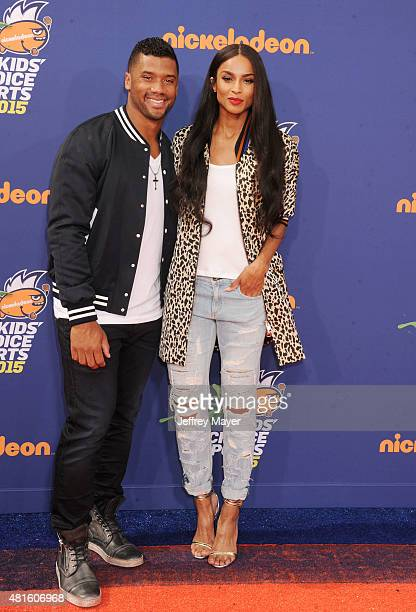 NFL player Russell Wilson and singer Ciara arrive at the Nickelodeon Kids' Choice Sports Awards 2015 at UCLA's Pauley Pavilion on July 16 2015 in...