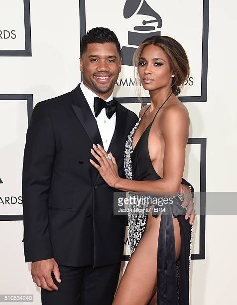NFL player Russell Wilson and singer Ciara attend The 58th GRAMMY Awards at Staples Center on February 15 2016 in Los Angeles California