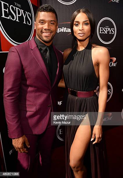 NFL player Russell Wilson with musician Ciara and attends The 2015 ESPYS at Microsoft Theater on July 15 2015 in Los Angeles California