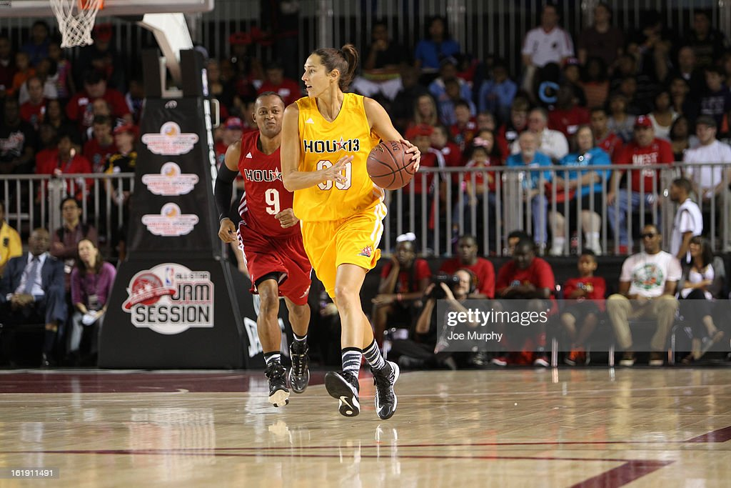 WNBA player Ruth Riley dribbles the ball up the court during the NBA Cares Special Olympics Unity Sports Basketball Game on Center Court during the 2013 NBA Jam Session on February 17, 2013 at the George R. Brown Convention Center in Houston, Texas.