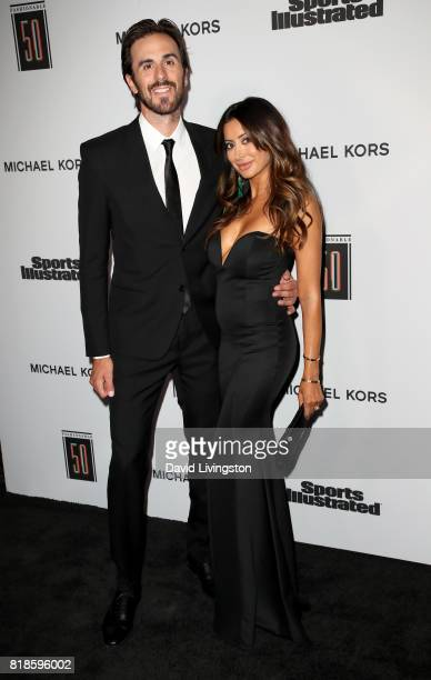 NHL player Ryan Miller and actress Noureen DeWulf attend Sports Illustrated Fashionable 50 at Avenue on July 18 2017 in Los Angeles California