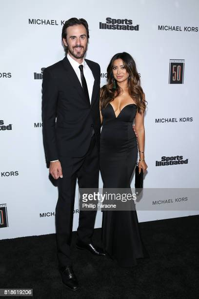 NHL player Ryan Miller and actress Noureen DeWulf attend the Sports Illustrated Fashionable 50 at Avenue on July 18 2017 in Los Angeles California