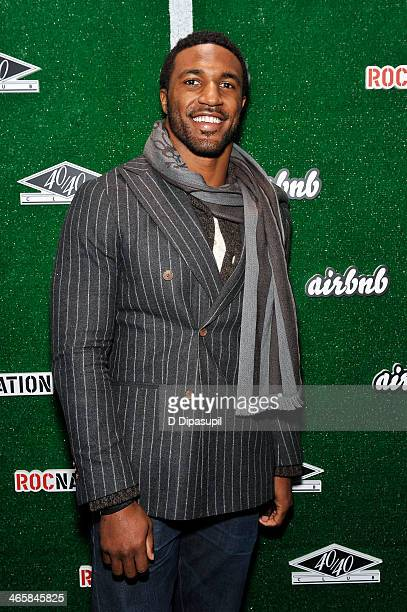 NFL player Ryan Mundy attends the Airbnb Super Suite at Roc Nation Sports Airbnb's 'Welcome To New York' event at 40 / 40 Club on January 29 2014 in...