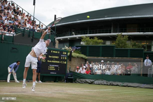US player Sam Querrey serves against South Africa's Kevin Anderson during their men's singles fourth round match on the seventh day of the 2017...