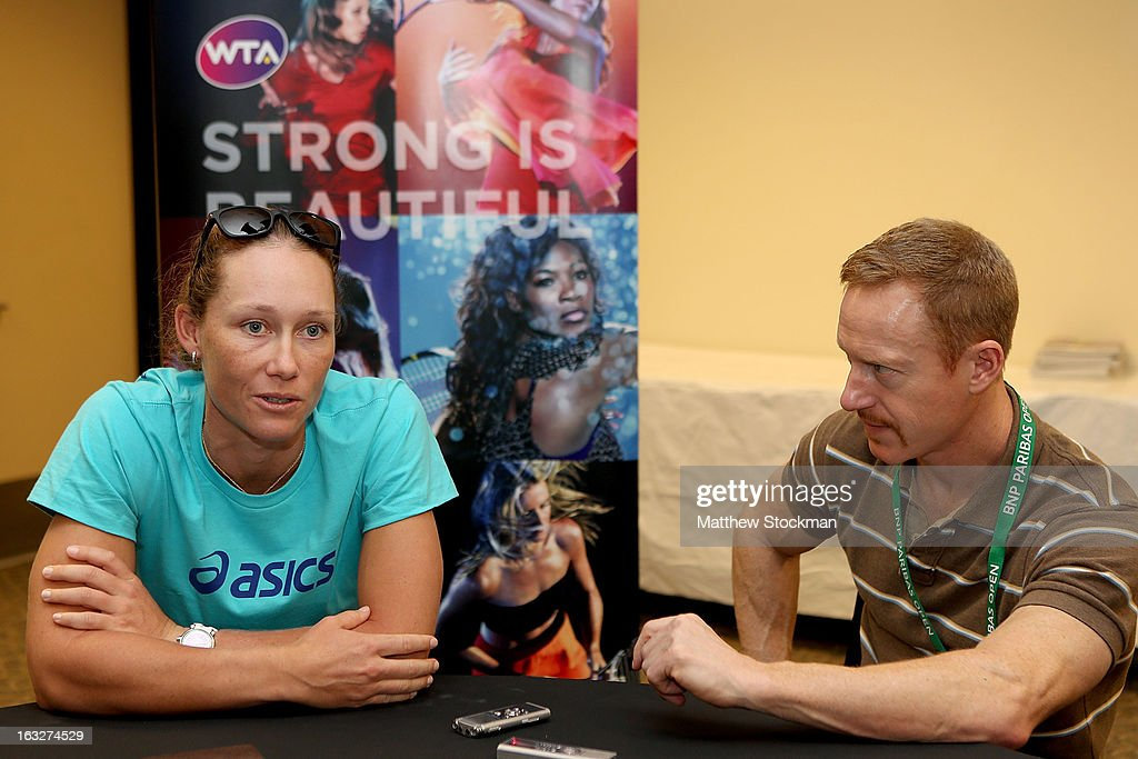 WTA player Samantha Stosur of Australia fields questions from the media during the WTA All Access Hour at the BNP Paribas Open at the Indian Wells Tennis Garden on March 6, 2013 in Indian Wells, California.