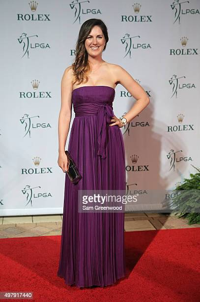 LPGA player Sandra Gal of Germany poses on the red carpet as she arrives to the LPGA Rolex Players Awards at the RitzCarlton Naples on November 19...