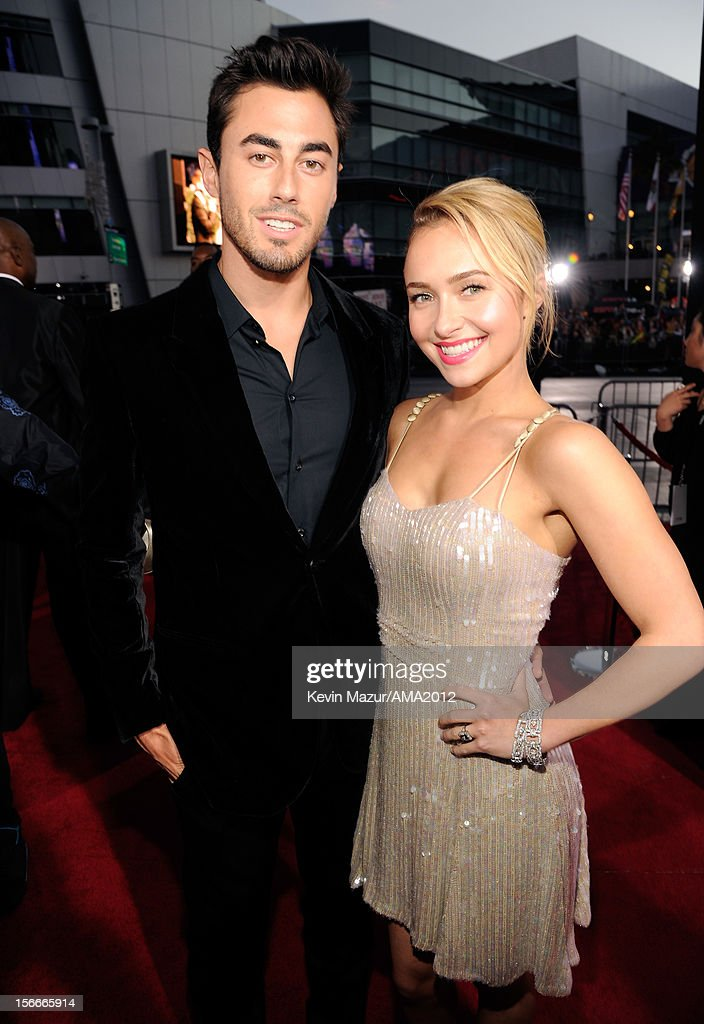 NFL player Scotty McKnight and actress <a gi-track='captionPersonalityLinkClicked' href=/galleries/search?phrase=Hayden+Panettiere&family=editorial&specificpeople=204227 ng-click='$event.stopPropagation()'>Hayden Panettiere</a> attend the 40th American Music Awards held at Nokia Theatre L.A. Live on November 18, 2012 in Los Angeles, California.