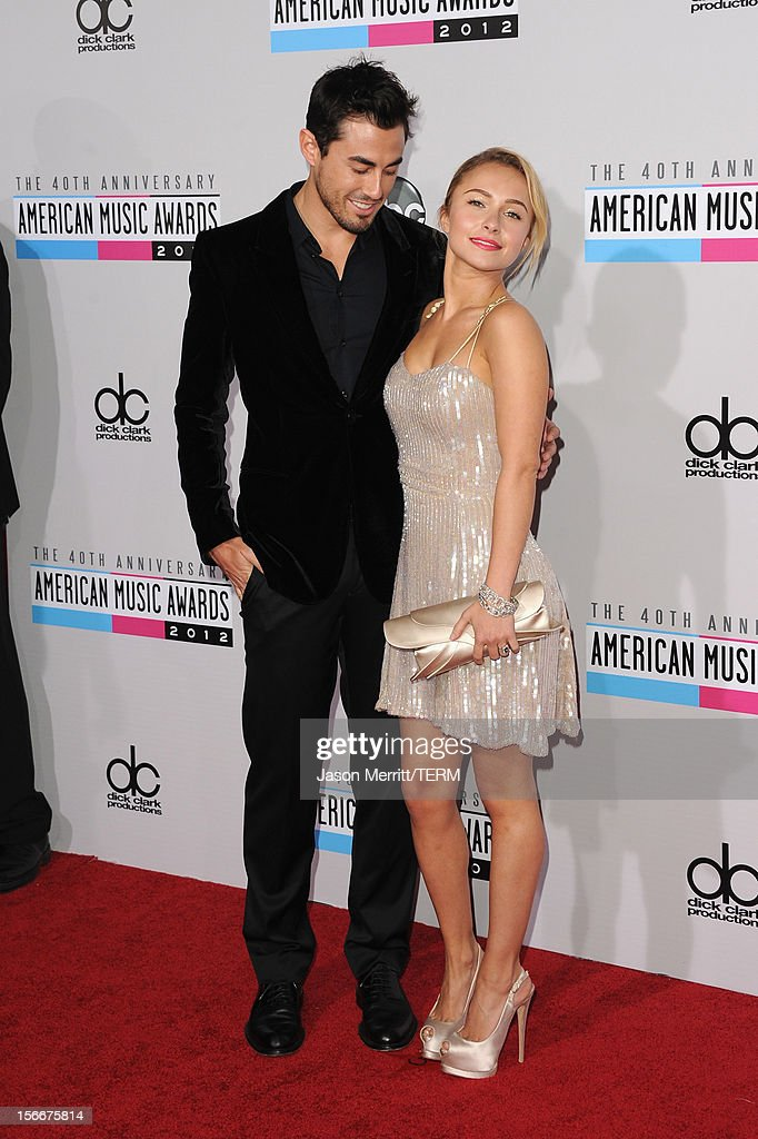 Player Scotty McKnight and actress Hayden Panettiere attend the 40th American Music Awards held at Nokia Theatre L.A. Live on November 18, 2012 in Los Angeles, California.