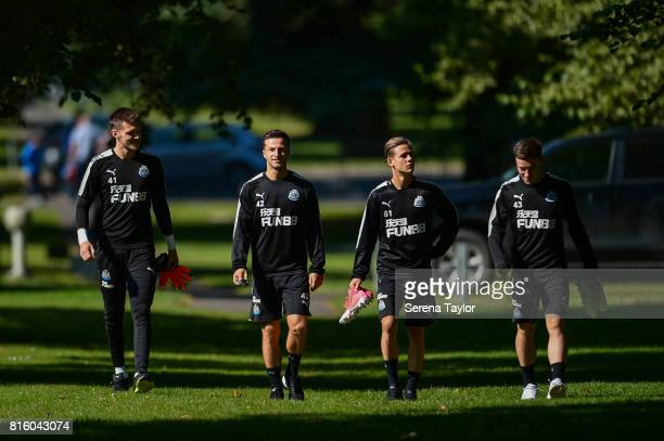 Player seen LR Goalkeeper Freddie Woodman Jamie Sterry Victor Fernandez and Callum Roberts walks outside during the Newcastle United Training session...